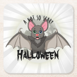 Clumsy, The Little Bat & A Not So Scary Halloween Square Paper Coaster