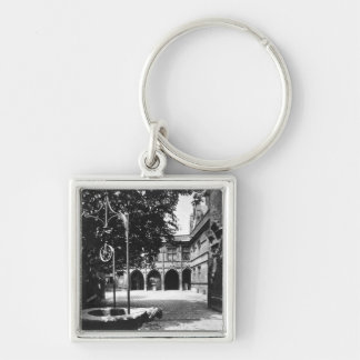 Cluny Hotel seen from the courtyard, Paris Silver-Colored Square Key Ring