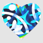 Cluster of colourful Abstract shapes Heart Sticker
