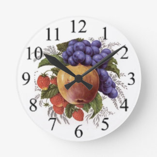 Cluster of Fruit Round Clock