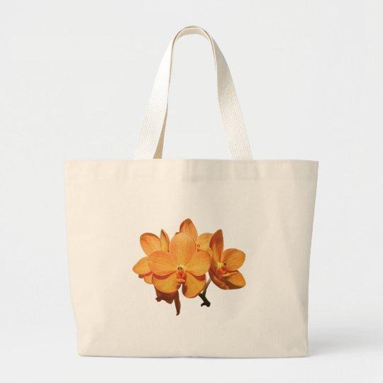 Cluster of Orange Orchids Large Tote Bag