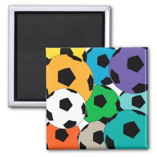 cluster of soccer balls square magnet