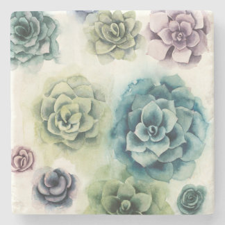 Cluster of Succulents Stone Coaster