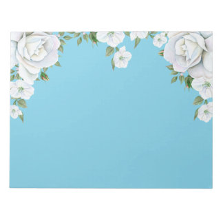 Cluster of White Roses Around Top Blue Background Notepad