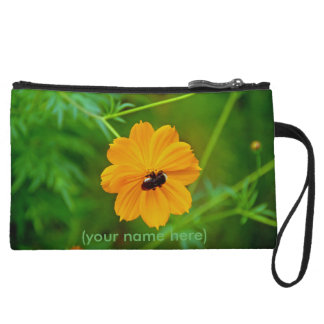 Clutch Bag with Brown-Eyed Susan and Bee Wristlet Purse