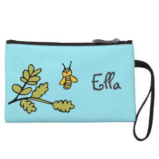 Clutch with Bee and Personalised Name Wristlet Clutch
