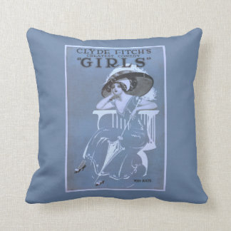 """Clyde Fitch's Greatest Comedy, """"Girls"""" Theatre Throw Pillow"""