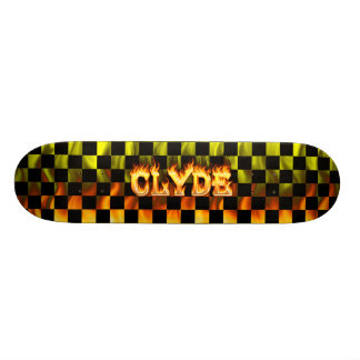 Clyde skateboard fire and flames design.
