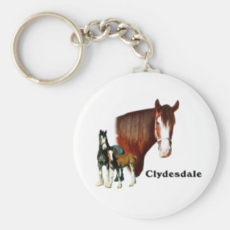 Clydesdale design basic round button key ring