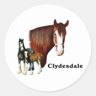 Clydesdale design classic round sticker