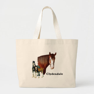 Clydesdale design large tote bag