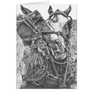 Clydesdale Draft Horse Drawing by Kelli Swan Card