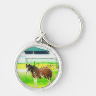 Clydesdale Draft Horse Silver-Colored Round Key Ring