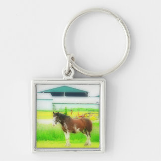 Clydesdale Draft Horse Silver-Colored Square Key Ring