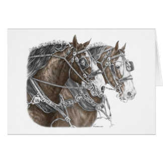 Clydesdale Draft Horse Team Greeting Card