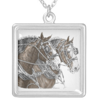 Clydesdale Draft Horse Team Silver Plated Necklace