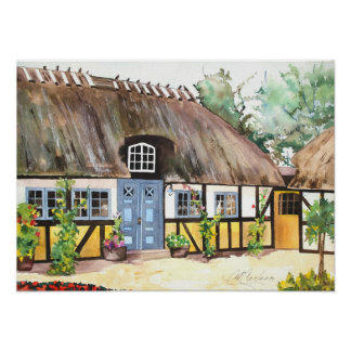 CMCarlson Thatch Roof Irish Cottage Poster