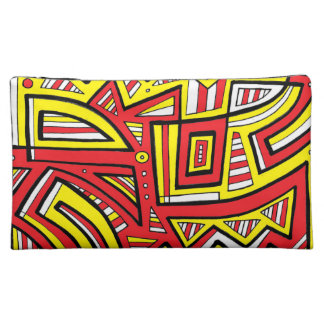 Cmiel Abstract Expression Yellow Red Black Cosmetic Bags