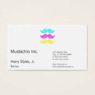 CMY Mustaches (letterpress style) Business Card