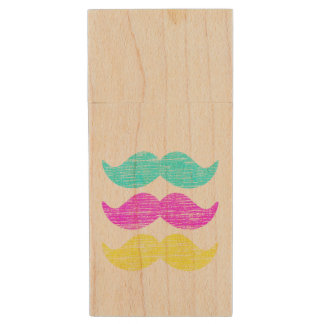 CMY Mustaches (letterpress style) Wood USB 2.0 Flash Drive