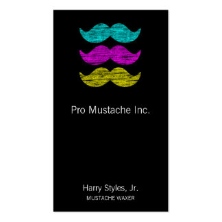 CMY Mustaches (letterpress style) Pack Of Standard Business Cards