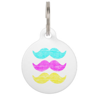 CMY Mustaches (letterpress style) Pet Tag