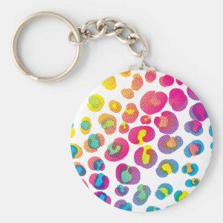 CMYK Cheetah Basic Round Button Key Ring