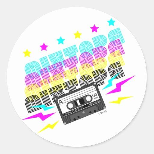CMYK Fun Mixtape Classic Round Sticker