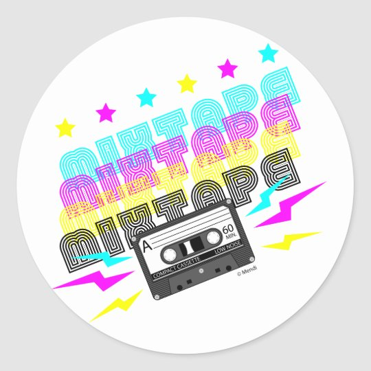 CMYK Fun Mixtape Round Sticker