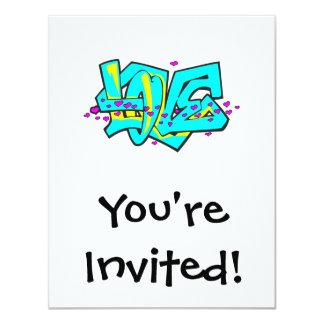 CMYK graffit LOVE word design 11 Cm X 14 Cm Invitation Card