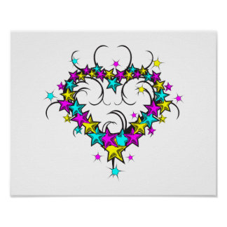 CMYK heart of stars tattoo style graphic Poster