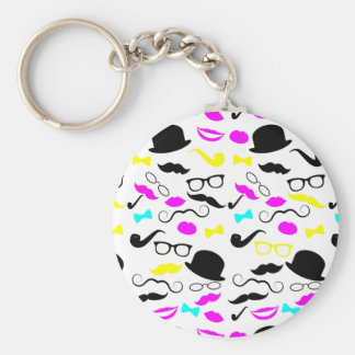 CMYK hipster mustache pattern Basic Round Button Key Ring