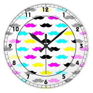 CMYK hipster mustache pattern Large Clock