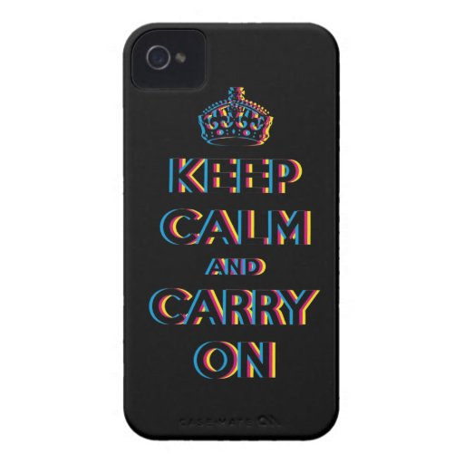 CMYK keep calm and carry on Case-Mate Blackberry Case