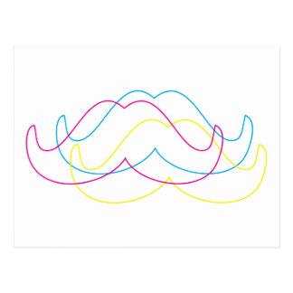 cmyk moustache design postcard