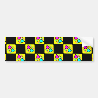 CMYK Nerd  Zone Ahead Hipster Geek Sign Pattern Bumper Sticker