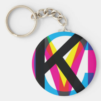 CMYK pile Basic Round Button Key Ring
