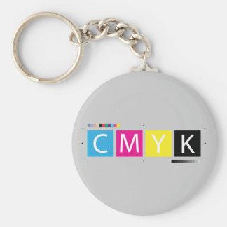 CMYK Pre-Press Colors Basic Round Button Key Ring