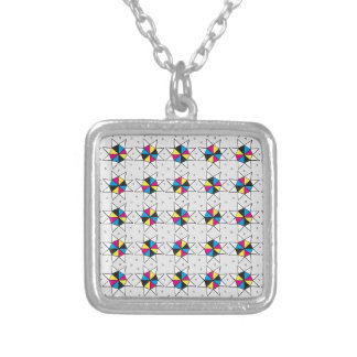 CMYK Star Wheels Silver Plated Necklace