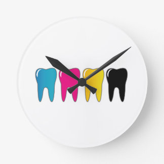 CMYK tooth Round Clock