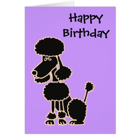 CN- Awesome Black Poodle Sitting Cartoon Card