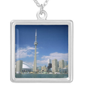 CN Tower and Skydome in Toronto, Ontario, Silver Plated Necklace