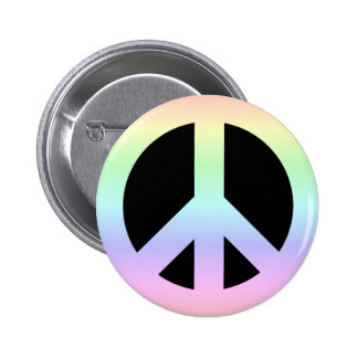 CND Peace Symbol Soft Pastel Rainbow on Black 6 Cm Round Badge