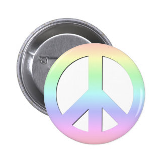 CND Peace Symbol Soft Pastel Rainbow on White 6 Cm Round Badge