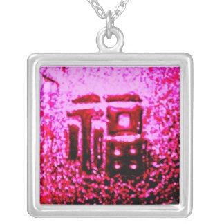 """۞»ÇÕИ¢ΣPŦÚÅḼ """"GoodLuck"""" Silver Exotic Necklace«۞ Square Pendant Necklace"""