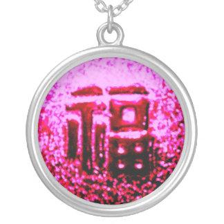 "۞»ÇÕИ¢ΣPŦÚÅḼ ""GoodLuck"" Silver Exotic Necklace«۞ Round Pendant Necklace"
