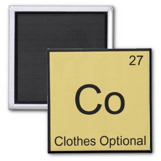 Co - Clothes Optional Chemistry Element Symbol Tee Square Magnet