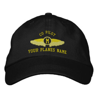 Co  pilot custom airplane name and monogram embroidered hats
