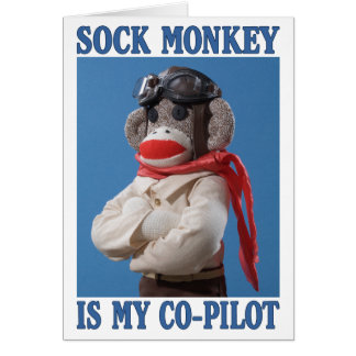 Co-Pilot Monkey greeting card