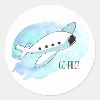 Co-Pilot with Plane Round Sticker